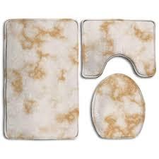 Badteppich 3 Teiliges Badezimmer Teppich Set Weiß Gold Marmor Print