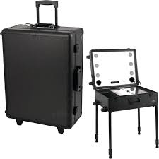 makeup case on wheels all black professional rolling studio makeup case with touchscreen power cool led lights multia speakers legs pro soft makeup