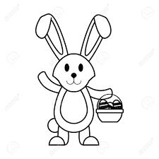ウサギや卵とバスケットのイースター関連アイコン イメージとウサギ ベクトル イラスト デザイン ブラック