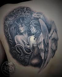 ангел демон тату на спине у парня добавлено камиль зубайдуллин