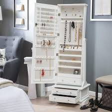 mirror armoire. locking jewelry armoire and adjustable full-length mirror combined.