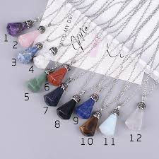 whole natural stone irregular pendant with europe and the united states fine ideas section six angle point diamond necklace silver pendant necklaces