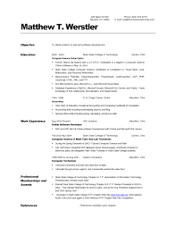 Sample Computer Science Resume College Resumes Student Objective