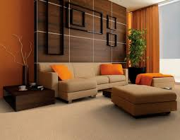 Orange And Blue Living Room Decor Warm Color Wall Paint And Brown Shades Sofa Design Ideas For