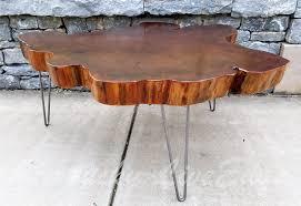 custom made big round coffee table live edge slab table tree round tree