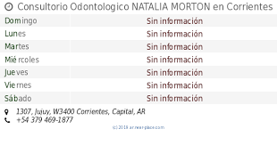 🕗 Consultorio Odontologico NATALIA MORTON Corrientes horarios, 1307,  Jujuy, tel. +54 379 469-1877