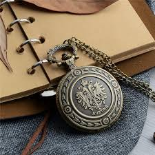 antique steampunk quartz watch vintage bronze national emblem pocket watch necklace pendant clock chain for men s womens pocket watch for pocket watch