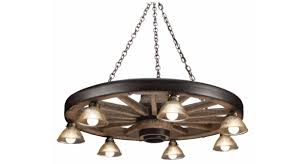 large wagon wheel chandelier with downlights