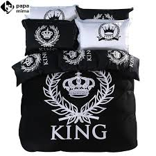 whole luxury black and white crown king queen size bedding set 3 100 cotton duvet cover set bedsheet pillowcase quilt cover ladybug bedding grey and