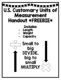 U S Customary Units Of Measurement Handout