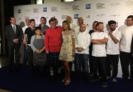 the collection of israeli chefs and round table culinary festival organizers at a press conference launching