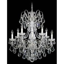 schonbek new orleans antique silver 10 light clear heritage handcut crystal chandelier 28w x 31h x 28d