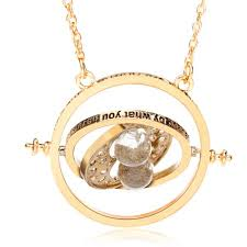 time turner rotating hourglass pendant necklace gold silver plated women jewelry