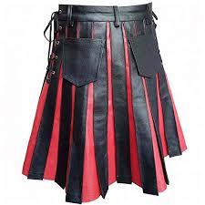 mens real black red leather kilt gladiator pleated