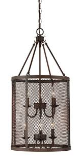 akron brushed bronze wire mesh drum foyer light 15 wx32 h