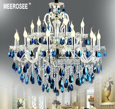 blue chandelier lights modern large arms silver crystal chandelier light blue crystal re light hanging lamp