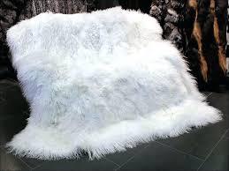 6 x 8 lamb fur rug bleached white mongolian sheep