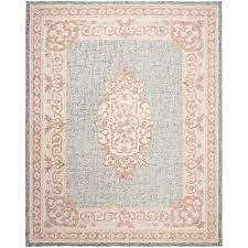safavieh hand tufted aubusson traditional blue ivory wool rug 8 x