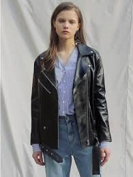 oversized leather jacket black