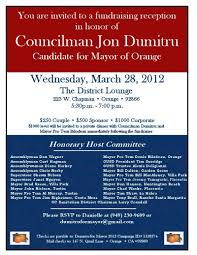 political fundraiser invite jon dumitru for mayor fundraiser oc political
