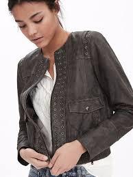 jacket leather jacket spring jacket embellished banana republic