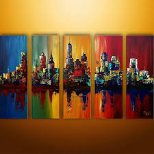 Ode-Rin - 100% Hand Painted Oil Painting on Canvas Energetic Colorful City  Shadow Wood Framed and Stretched 5 Pieces Wall Art Painting for Living Room  Home ...