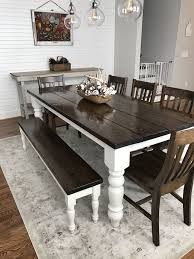 dining room table sets with bench. Custom Built, Solid Wood Modern Farmhouse Dining Furniture. 7\u0027 L X 37\ Room Table Sets With Bench