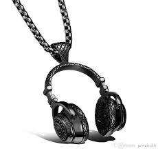 whole heavy metal wireless headphone design stainless steel fashion pendant necklace for men biker jewelry silver gold black kka1841 jewelry