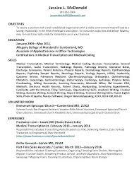 Medical Transcriptionist Resume Examples Sample Resume For Medical