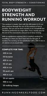 for time crossfit bodyweight strength and running workout running on real food workouts