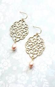 big gold chandelier earrings gold filigree earrings peach pearl drops big dangle large chandeliers for big gold chandelier earrings