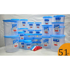 chetan set of 51 pcs plastic airtight kitchen storage