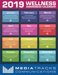 Official Month Designations 2019 Health Wellness Awareness Calendar Infographic