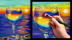 sunset reflected in a glass easy beginner painting tutorial