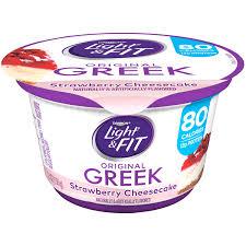 Dannon Light Fit Greek Strawberry Cheesecake Nonfat Yogurt 5 3 Oz Cup Walmart Com