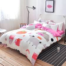 hipster style hot pink red gray and white apple cow print funky cute cotton twin full size bedding sets set king quilt