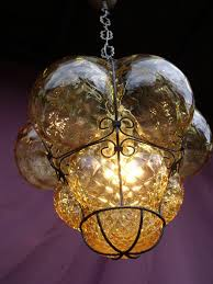gorgeous vintage venetian chandelier hanging lamp with amber coloured glass