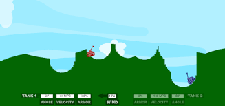 tank wars is a fun bination of physics and fighting both players control a tank each and the objective is to fire a missile that blasts a significant