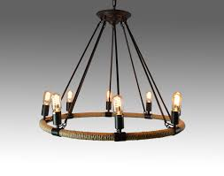 8 light rope chandelier with black metal finish for elegant kitchen lighting decoration