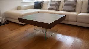 square dark wood veneer coffee end table