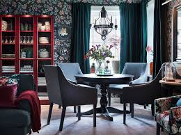 ikea ingatorp black round extendable table and sakarias dining chairs in both grey and fl patterns