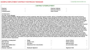 Project Contract Templates Project Manager Employment Contract | Agreements & Contracts ...