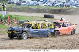 Banger Racing Cars In Action Stock Photos Banger Racing Cars In