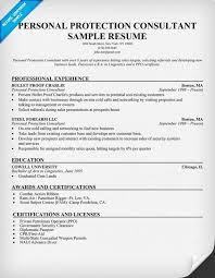 Personal Protection Consultant Resume Resumecompanion Com