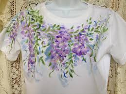 hand painted t shirt wisteria design size s