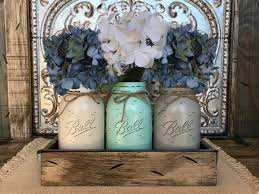 mason jar decor centerpiece flowers optional antique wood tray rusty handles 3 ball canning painted quart jars distressed red white blue