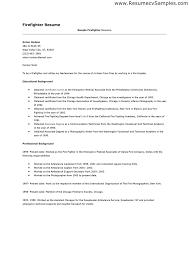 Resume Template Firefighter Resume Examples Free Career Resume