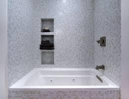 phenomenal white glass tile shower mosaic linen brio modwall designer bathroom installation 3 4 bathtub backsplash with grey grout turned blue look green