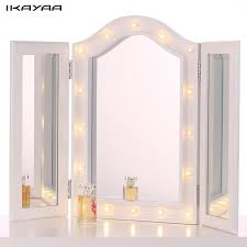 ikayaa led lighted makeup mirror cosmetic trifold vanity stand folding countertop table lighted make up mirror m90