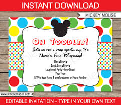mickey mouse party invitations template birthday party mickey mouse party invitations clubhouse birthday party editable diy theme template instant